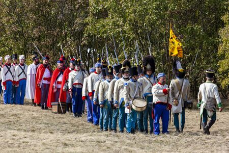 Pákozd Hungary Sept 29, 2019: Unidentified reenactors fighting the historic war of Independence of 1848 in Hungary. That battle was won -however, the freedom was short-lived. Stok Fotoğraf - 133786965