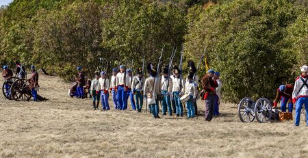 Pákozd Hungary Sept 29, 2019: Unidentified reenactors fighting the historic war of Independence of 1848 in Hungary. That battle was won -however, the freedom was short-lived. Stok Fotoğraf - 133786968