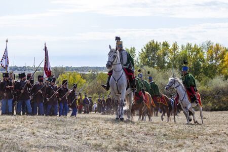 Pákozd Hungary Sept 29, 2019: Unidentified reenactors fighting the historic war of Independence of 1848 in Hungary. That battle was won -however, the freedom was short-lived. Stok Fotoğraf - 133786973