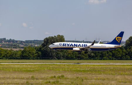 Hungary Budapest Sept 13, 2019: Passenger jets Ryanair Boeing 737 about to land - on a busy day - at Budapest international airport.  G