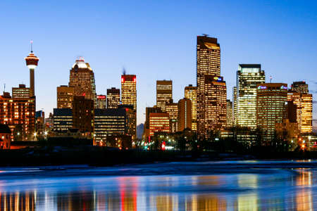 CALGARY CANADA 31-12-2015: Calgary at night, considered by the World Cities study group and tied for 5th best - home for large number of corporate head offices.