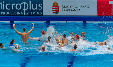 Budapest Hungary Jan 24, 2020: A very Happy Hungarian team cellebrating at  the 34th Men's European Water Polo Championship. The tournament for national teams. Hungary - Spain for the 1st & the 2th place.  Hungary got the GOLD  by 14-13.