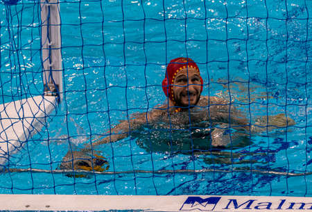 Budapest Hungary Jan 24, 2020: The 34th Men's European Water Polo Championship. The tournament for national teams. Hungary - Spain for the 1st & the 2th place.  Hungary got the GOLD  by 14-13.