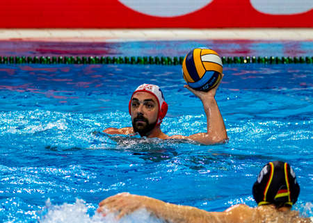 Budapest Hungary Jan 24, 2020: The 34th Men's European Water Polo Championship. The tournament for national teams. Georgia-Germany for the 10th & the 9th place. Germany got in 9th place by 8-9.