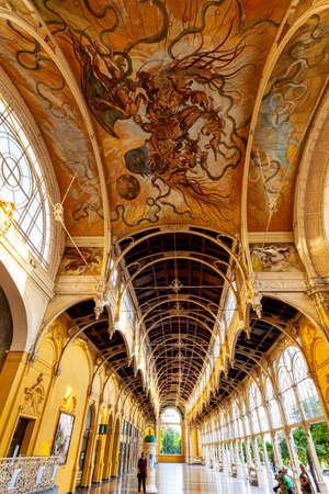MARIANSKE LAZNE, CZECH REPUBLIC - OCTOBER 28, 2019: Interior of Neo-Baroque Spa Colonnade in Marianske Lazne, Czech Republic. Editoriali