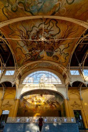 MARIANSKE LAZNE, CZECH REPUBLIC - OCTOBER 28, 2019: Interior of Neo-Baroque Spa Colonade in Marianske Lazne, Czech Republic.