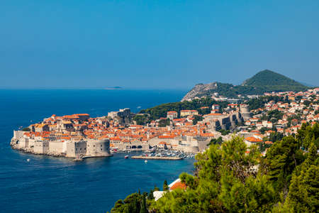 Dubrovnik West harbor Croatia sept 14, 2019: Panoramic view from the hillside of the harbor and the surrounding hills.