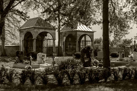 Nagycenk Hungary may 14,2020: The Széchényi Mausoleum and cemetery  is the most sacred place of pilgrimage for Hungarian people.  The Classic chapel and the family grave there for centuries.