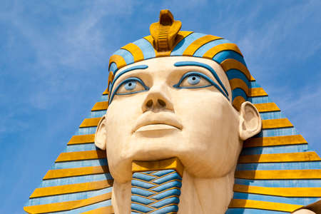 Las Vegas USA - JULY 5 2019: The Replica of Sphinx in front of Luxor Hotel in Las Vegas, Luxor is Egypt-themed casino resort on the Strip. About 40 million people visiting the city each year.