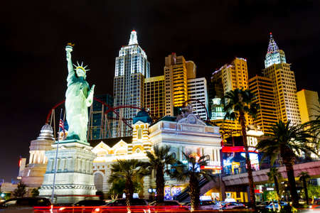 LAS VEGAS USA - JULY 8 2018: New York-New York - at night - located on the Las Vegas Strip is shown in Las Vegas. Replica of the Statue of Liberty is 150 ft. (46 m) and the property opened in 1997.