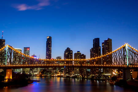 Night time of Brisbane CBD and South Bank. Brisbane is the capital of QLD and the third largest city in Australia Editorial