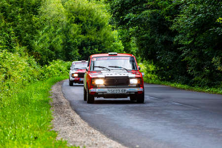 Hungary Matra Mountain Range July 19, 2020:  Hungarian national Car Rally  Championship in the Matra forest.  Lada .