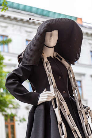 Budapest Hungary Feb 22, 2020: Future fashion designers dress up mannequins on the street to show there work.