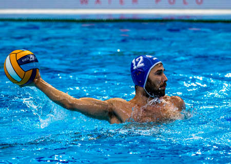 Budapest Hungary Jan 24, 2020: The 34th Men's European Water Polo Championship. The tournament for national teams. Spain and Croatia. Redactioneel