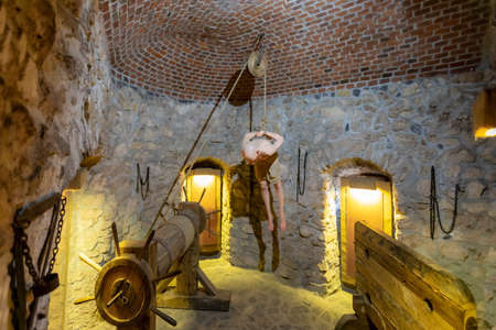 Temesvar Transylvania Hunyadi Castle Sept. 14, 2020: The dungeon and torture chamber with horrific history.