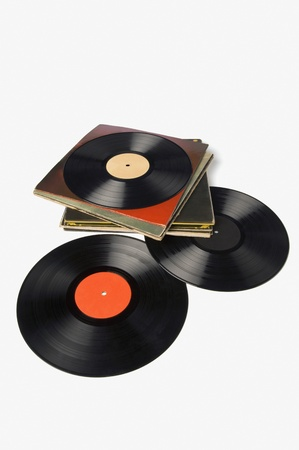 Close-up of gramophone records Stock Photo