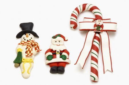 Close-up of three Christmas ornaments photo