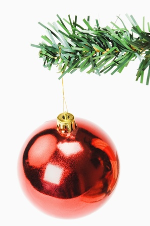 Red bauble hanging on a Christmas tree photo
