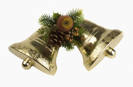Close-up of Christmas bells with pine cone photo