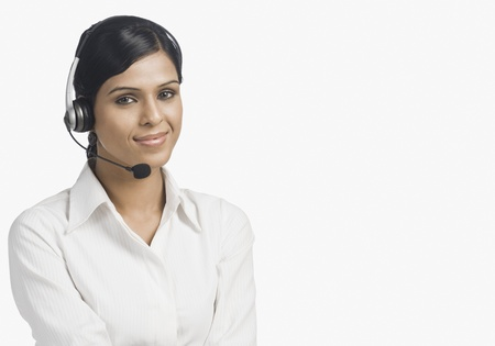 self service: Portrait of a female customer service representative smiling