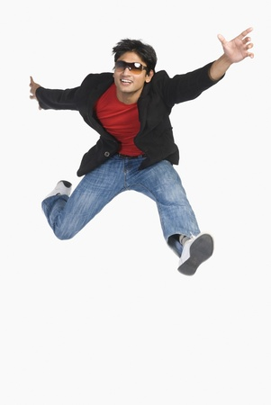 excite: Man jumping in mid-air