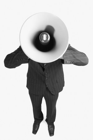 commerce communication: Businessman with a megaphone