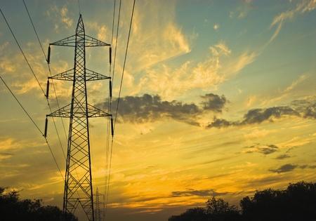 Clouds over an electricity pylon, Gurgaon, Haryana, India Stock Photo