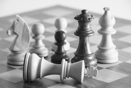 checkmate: Chess pieces on a chess board