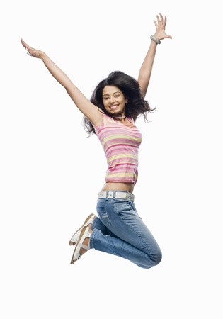 only young woman: Young woman jumping