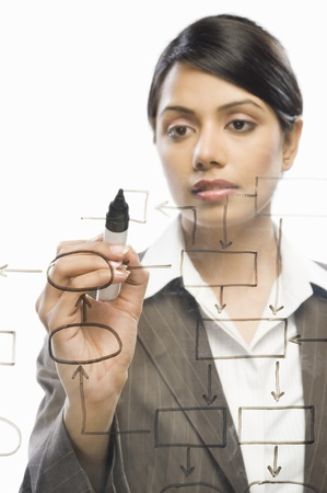 information analysis: Businesswoman making flow chart on a glass against a white background