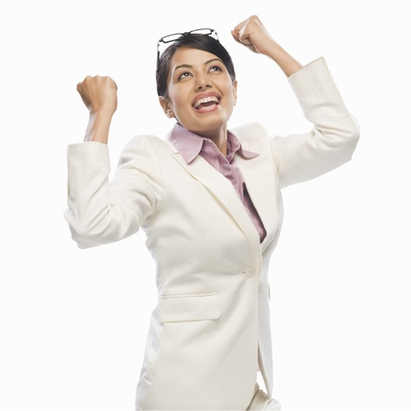 Businesswoman exclaiming with joy Stock Photo - 10123461
