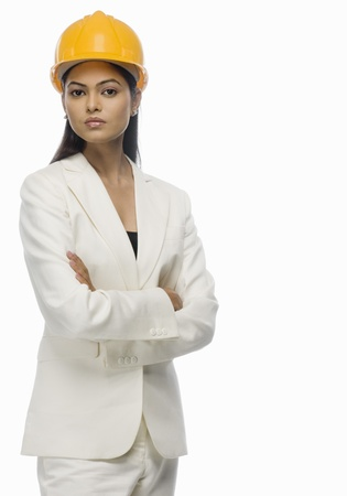 asian architect: Portrait of a female architect with her arms crossed