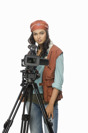 photosindia: Portrait of a female videographer videographing