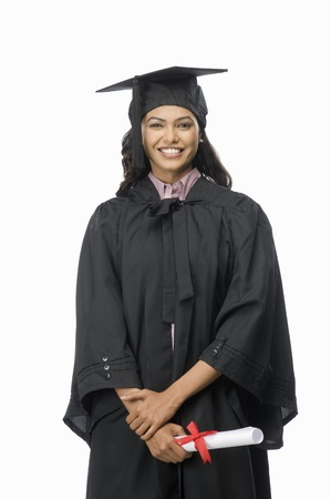 Portrait of a female graduate with her diploma Stock Photo - 10123575