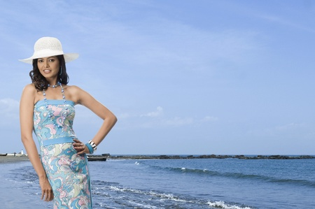 rfbatch15: Portrait of a female fashion model posing on the beach