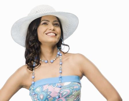 rfbatch15: Female fashion model posing against white background