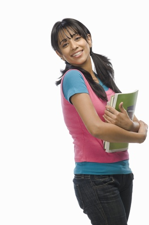 Portrait of a female college student with files Stock Photo