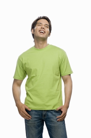 Young male fashion model laughing Stock Photo - 10123581