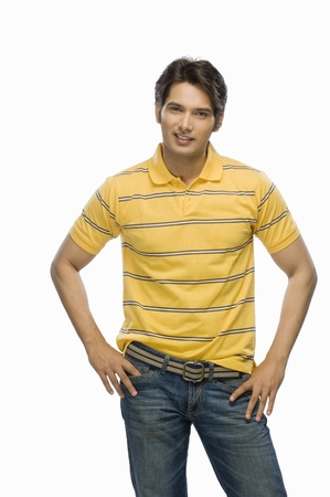 Portrait of a young male fashion model smiling Stock Photo - 10123773
