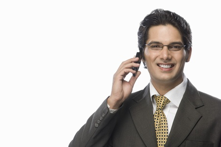 Portrait of a businessman talking on a mobile phone