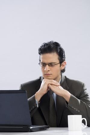 photosindia: Businessman looking at a laptop