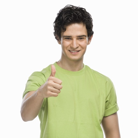 rfbatch15: Portrait of a man showing thumbs up sign LANG_EVOIMAGES
