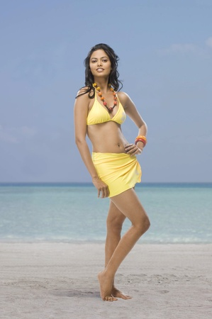 Portrait of a female fashion model posing on the beach Stock Photo - 10124100