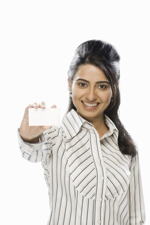 Businesswoman showing a blank card Stock Photo - 10123986