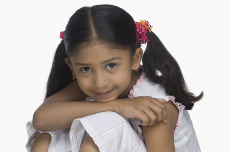 smirking: Portrait of a girl smirking