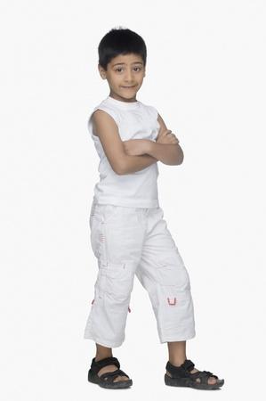 smirking: Portrait of a boy smirking