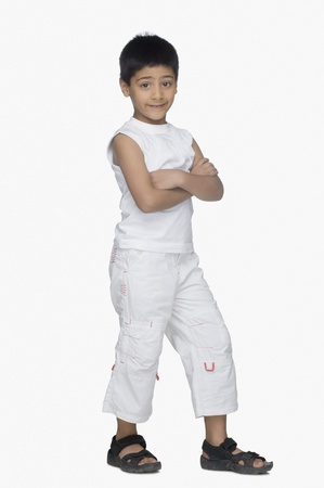 Portrait of a boy smirking
