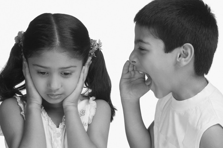 Girl covering her ears while her brother shouting Stock Photo - 10124938