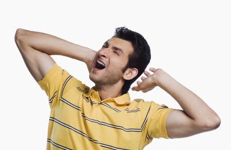 Close-up of a man suffering from a neckache Stock Photo - 10166465