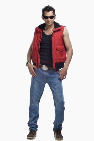 男性のファッションのモデルのポーズ 写真素材